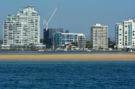 proposed: GOLD COAST-OCT 29 2014:New residential and office buildings rise above Broadwater. ASF Consortium proposed 7.5 billion world-class Gold Coast Integrated Resort and Cruise Ship Terminal on May 2014.