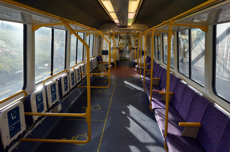 goldcoast: GOLD COAST, AUS - SEP 23 2014:Empty car of Queensland Rail train.Queensland Rail  have more than 7 billion in total assets.
