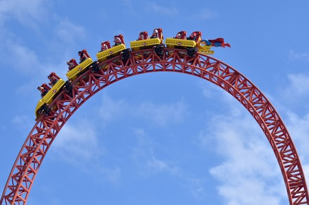 thrill: GOLD COAST, AUS -  NOV 20 2014:Visitors ride on Superman Escape in Movie World Gold Coast Queensland Australia.Its an Accelerator Coaster that accelerates from 0 to 100 Km per hour 62 mph in 2 sec. Editorial
