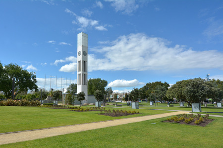 palmy: PALMERSTON NORTH, NZL - DEC 01 2014:Palmerston North Square.It contains the city clock tower, war memorial and a memorial dedicated to the Maori chief that sold the district to NZL government in 1865.