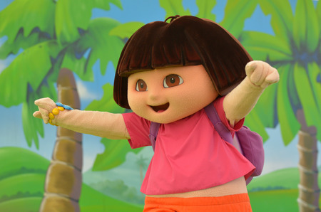 latina america: GOLD COAST, AUS -  NOV 06 2014:Dora the Explorer.Dora the Explorer featured the first animated Latina character in a leading role in childrens television.