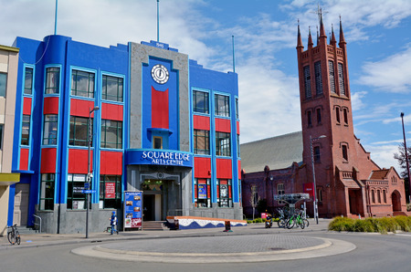 palmy: PALMERSTON NORTH, NZL - DEC 01 2014:Square Edge Creative Centre.It is home to a number of artists studios, shops, art galleries and perfomancerehearsal spaces. Editorial