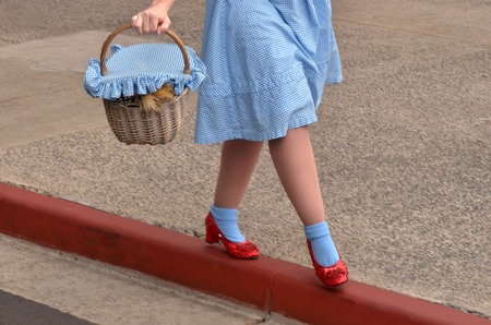GOLD COAST, AUS -  NOV 06 2014:Dorothy Gale and Toto in Movie World Gold Coast Queensland Australia.Dorothy Gale was a fictional character of many of the Oz novels by the American author L. Frank Baum Zdjęcie Seryjne - 46308762