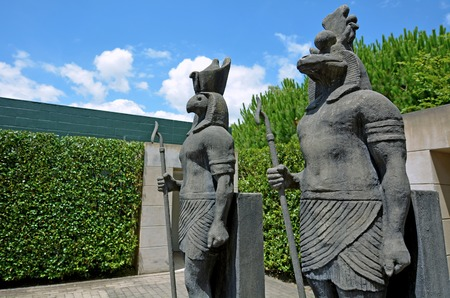 old new: HAMILTON, NZL - JAN 10 2015:Egyptian sculptures in Hamilton Gardens.Its one of the most popular visitor attraction in New Zealand attracting more than 1 million people and holding over 2,000 events each year. Editorial