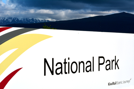 north island: NATIONAL PARK, NZ - DEC 8 2014:National Park station of KiwiRail Scenic Journeys, the long-distance passenger train brand of KiwiRail travels in the dramatic landscape of New Zealand North Island.