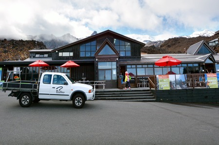 chalets: NATIONAL PARK, NZL - DEC 8 2014:Ski chalets in Whakapapa skifield on Mount Ruapehu.It considered to be the largest and most popular ski resort in New Zealand. Editorial