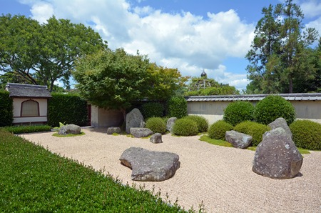 architectural tradition: HAMILTON, NZL - JAN 10 2015:Japanese Garden of Contemplation in Hamilton Gardens.Its one of the most popular visitor attraction in New Zealand attracting more than 1 million people and holding over 2,000 events each year.