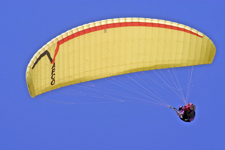 paraglider: Paraglider is paragliding against clear blue sky. Editorial