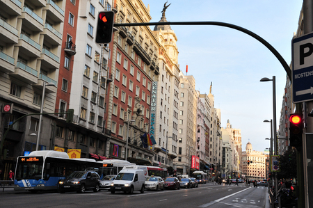 The Gran Via-Madrid's High Street, Spain. Editorial