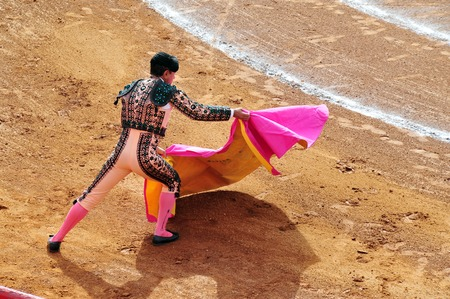 violence in sports: A Matador and a bull are in a standoff before engaging in a bullfight battlein Mexico city