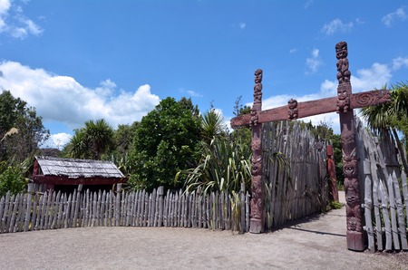 each year: HAMILTON, NZL - JAN 10 2015:Maori village in Hamilton Gardens.Its one of the most popular visitor attraction in New Zealand attracting more than 1 million people and holding over 2,000 events each year.