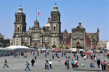 liturgical: MEXICO CITY -  FEBRUARY 28: TThe Metropolitan Cathedral at the Zocolo square on February 28 2010 in Mexico City, Mexico