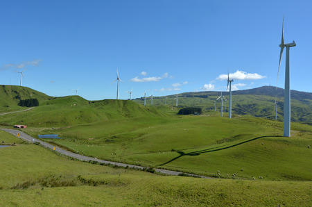 windfarm: PALMERSTON NORTH, NZL - DEC 03 2014:Wind turbines in Te Apiti Wind Farm.The 100 million wind farm consists of 55 separate turbines capable of generating 1.65 MW each with a total capacity of 90.75 MW Editorial