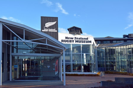 palmy: PALMERSTON NORTH, NZL - DEC 02 2014:New Zealand Rugby Museum.Its managed by the Rugby Museum Society of New Zealand, a registered charity and Associate Member of the New Zealand Rugby Union. Editorial