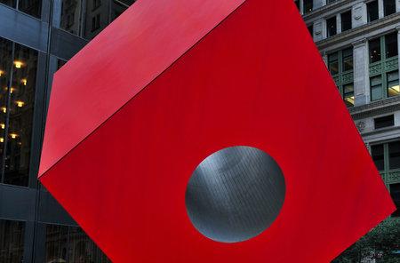 lower manhattan: Red Steel Sculpture in lower Manhattan New York, USA. Editorial