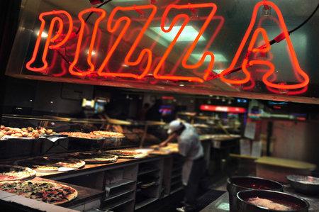 Pizzeria restaurant in Manhattan New York, USA.