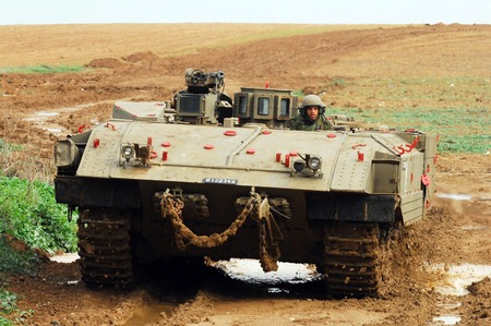 gaza: NACHAL OZ, ISR - DEC 26:Israeli M113 armored personnel carrier during the final preparation of the IDF for a possible land incursion into Gaza strip  during cast lead operation on December 26, 2008.