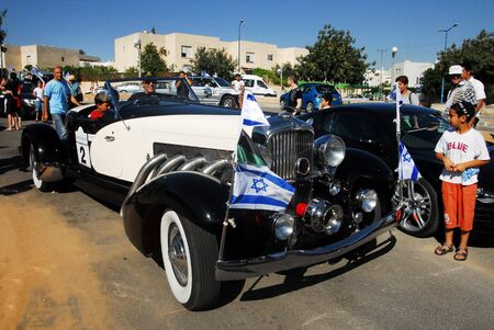 people only: SDEROT, ISR - JUNE 01:Classic old Chrysler Custom Imperial Roadster on June 01 2008.In Israel there is 4,000 registered collectible vehicles belong to 850 people only.