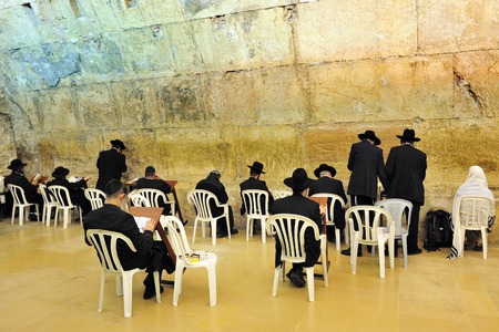 kotel: JERUSALEM - NOVEMBER 12:The Cave Synagogue at the Kotel Wailing Western wall on November 12 2008, Jerusalem, Israel.It is a remnant of the ancient wall that surrounded the Jewish Temples and is the most sacred site recognized by the Jewish faith outsid