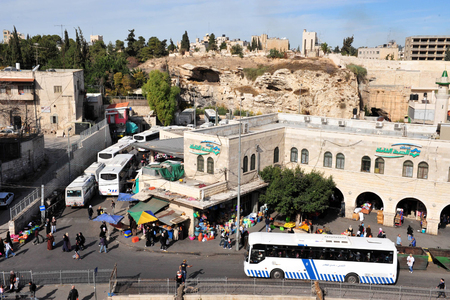 encompasses: JERUSALEM - NOV 12:Sheikh Jarrah neighborhood on November 12 2008.Its part of the Holy Basin that encompasses places in the Old City of Jerusalem that are holy to Judaism, Christianity and Islam.