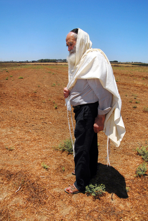 WESTERN NEGEV - JULY 12: An orthodox Jewish Rabbi prays in his field during Shmitta the Sabbatical Year on JULY 12 2007 in the western Negev, Israel. Its the seven-year agricultural cycle mandated by the Torah for the Land of Israel and still observed by Editorial