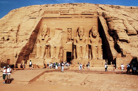 relocated: ABU SIMBLE - APRIL 29: Visitor at the Great Temple of Abu Simbel on the border of Egypt and Sudan on April 29 2007.The temples were dismantled and relocated in 1968 when Aswan dam was built.