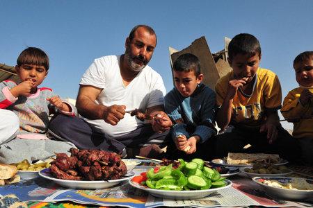 LAKIYA、ISR - 12 月 12:Muslims は、イードアル、12 月 8 日 2008.The 祭り、子羊または他の動物を犠牲にすることと、親戚、友人、そして貧しい人々 に肉を配