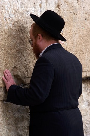 hassid: JERUSALEM  - NOV 20:Jewish Man pray at the Western Wall on November 20 2008 in Jerusalem, Israel.Its the most sacred site by the Jewish faith outside of the Temple Mount itself.