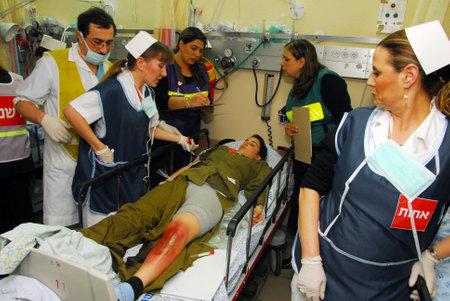 ASHKELON, ISR - FEB 26: Israeli Medical teams practicing a mass casualty scenario on February 26, 2008.Since 2001 Palestinian rocket attacks on Israel have killed 64 Israelis as of November 21, 2012.