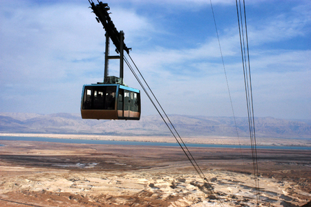 masada: The cable car to Masada stronghold, Judea Desert, Israel.