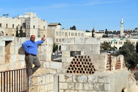 ottoman empire: JERUSALEM - NOV 12:Visitor on Jerusalem old city walls on November 12 2008.The walls were built between the years 15351538, during the reign of the Ottoman empire by Sultan Suleiman the Magnificent. Editorial