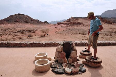 timna: TIMNA, ISR - OCT 15:Exhibit of ancient Egypt copper mining accessories  in Timna Park on October 15 2008.Its the worlds first copper production center founded my the Egyptian in the in Timna valley over 5000 years ago.
