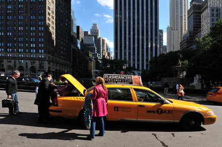 Yellow taxi cab, one of the public transportation in Manhattan New York, USA. Editorial