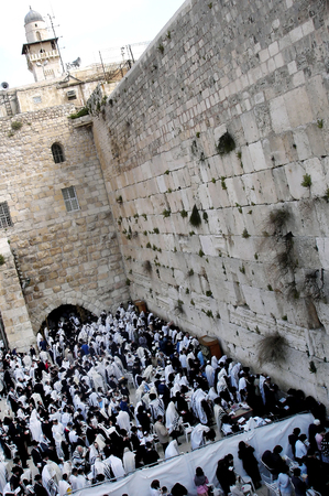 hassid: JERUSALEM - APRIL 07: Jewish orthodox pray at the western wall during the holiday of Passover in Jerusalem old city, Israel on April 07 2008.