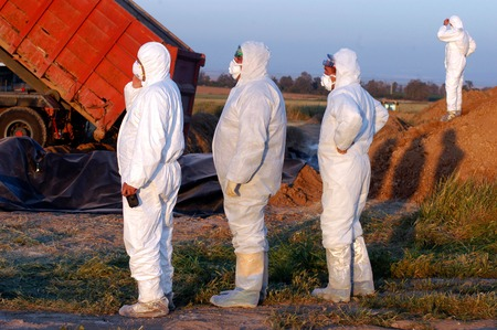 WESTERN NEGEV - MARCH 18: Agriculture Ministry are burying the carcasses of dead turkeys at Kibbutz En Hashlosha in the western Negev on Saturday March 18, 2006.