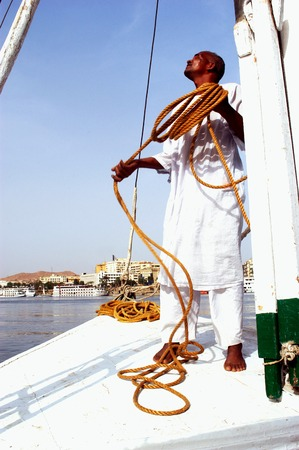 invented: ASWAN - APRIL 28: A Felucca sail over the river Nile in Aswan, Egypt on April 28 2007.The feluccas seen today were invented in 3350 BC