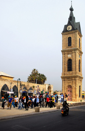 proclaimed: JAFFA, ISR - MAR 08:The famous Clock Tower in ancient Jaffa on Mar 08 2008.In May 14, 1948 when the state of Israel was proclaimed the Arabs in Jaffa were joined with Jews in a religiously mixed city. Editorial