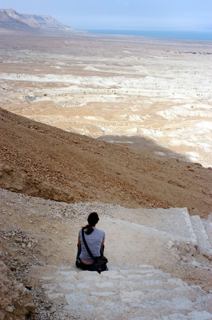 holyland: MASADA,ISR - OCT 21:Visitor climbing up Masada Fortress in Israel by using the steep ancient snake path on Oct 21 2006.Masada considered as one of the most popular tourist destination in Israel.