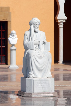 celeb: CAESAREA - JULY 06:Maimonides Rambam Rabbi Moshe Ben Maimon statue at the Ralli Museum Recanati Caesarea Israel on JULY 06 2010.Its an Art Museum founded by Harry Recanati in 1993 Editorial