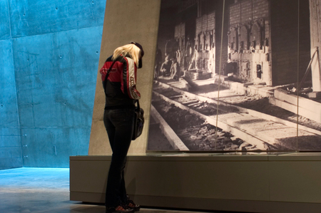 holyland: JERUSALEM - NOV 07:Visitors at Yad Vashem on November 07 2005 in Jerusalem,Israel.Its a world center for Holocaust research, documentation, education and commemoration to the 6 million Jewish victims