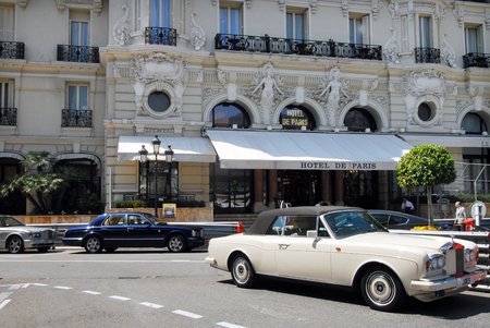 james: MONACO - MAY 07:Luxury cars outside Hotel de Paris, 5 star luxury hotel on May 07 2008.The hotel was seen in two James Bond films, Never Say Never Again an un- official film and GoldenEye