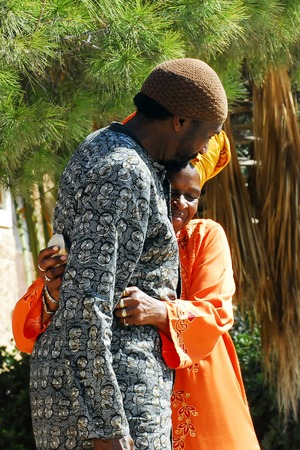 jewish community: DIMONA, ISR - NOV 06:Black Hebrews couple on Nov 3 2008.The group practices Polygyny man can marry up to 6 wives within the community.The Divine Marriage based on Biblical examples such as King David. Editorial