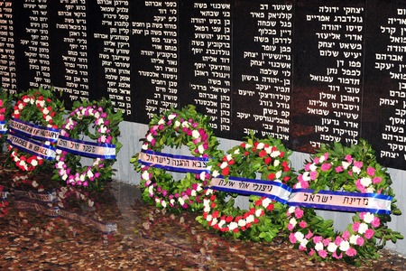 ashdod: ASHDOD, ISR - OCT 28:Wreath of flowers at the annual ceremony to the Israeli Navy fallen soldiers on 28 Oct 2008. Its honoring those who had perished by the sea. Many of them have no grave on land.