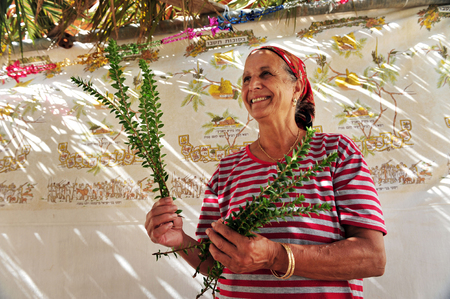 tabernacles: NETIVOT - OCTOBER 02: Israeli Jewish woman  happy in here Sukkah on the eve of the Jewish holiday Sukkoth on October 02, 2009 in Netivot, Israel.