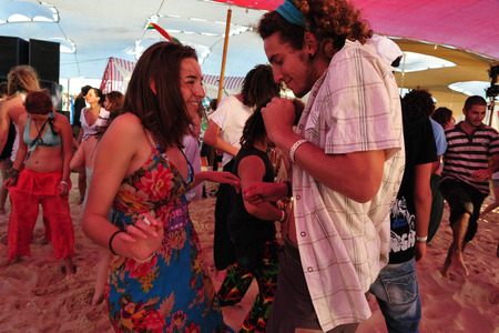 age 10: NITZANIM, ISR - APR 10:Israeli youth in Boombamela festival on April 10 2009.Its a ShantiNew Age festival held annually in Israel since 1999 based on the Hindu festival of Kumbh Mela in India.
