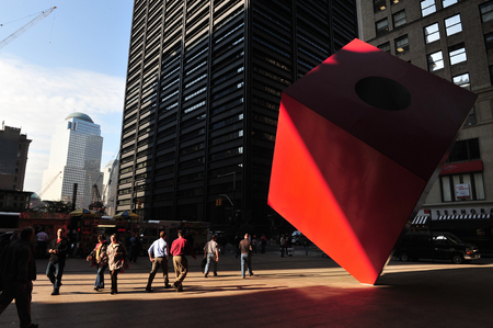 occupy movement: NY-OCT 09: Noguchis Red Cube in front of the HSBC bank building on October 09 2009 in New York. This is the place, where the movement Occupy Wall Street starts again with spring occupation on July 13 of 2011