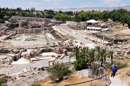 17 years: BEIT SHEAN,ISR - JUNE 17:Visitors in Ancient Beit Shean on June 17 2009.Beit Shean is one of the most ancient sites in Israel: it was first settled 5-6 thousand years ago.