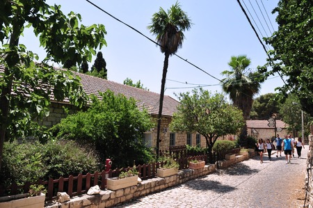 pina: ROSH PINA,ISR - JUNE 21:Visitors at Rosh Pinna on June 06 2009.It was founded in 1882 by thirty families returning from the Jewish diaspora making it one of the oldest Zionist settlements in Israel.