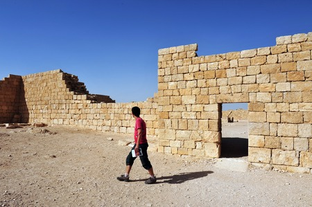 bce: AVDAT, ISR - MAY 31:Visitor at the ruins of the Nabataean city Avdat on May 31 2009.It was the most important city on the Incense Route after Petra, between the 1st century BCE and the 7th century CE Editorial