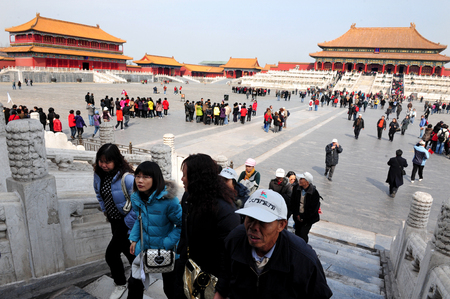 top 7: BEIJING - MARCH 11:Visitors at the The Forbidden City on March 11 2009 in Beijing,China.The Forbidden City is Chinas top tourist attraction, drawing more than 7 million visitors a year.